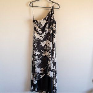 H by Halston One Shoulder Floral Chiffon Dress